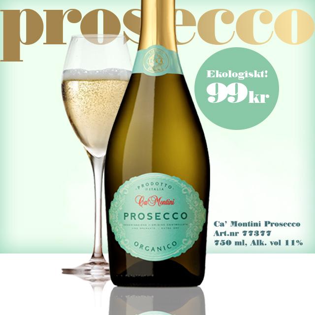 TIPS- Ekologisk Prosecco: Ca Montini 99 kr!  Vinbetyget 2019