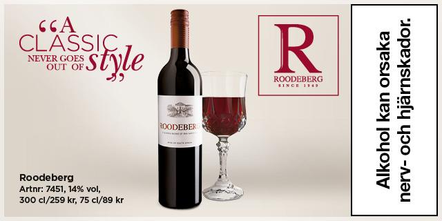 Gott & prisvärt rött vin till grillat: Klassiska Roodeberg.
