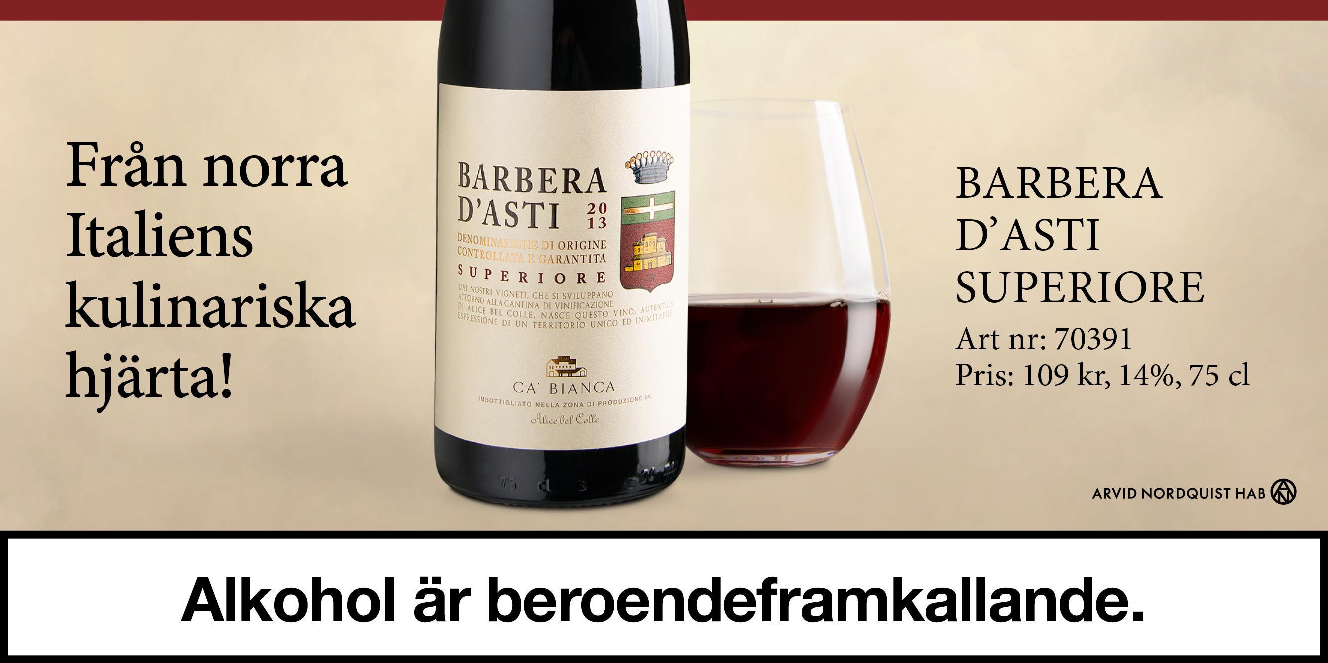 Vintips- Barbera D'asti från Piemonte 109 kr