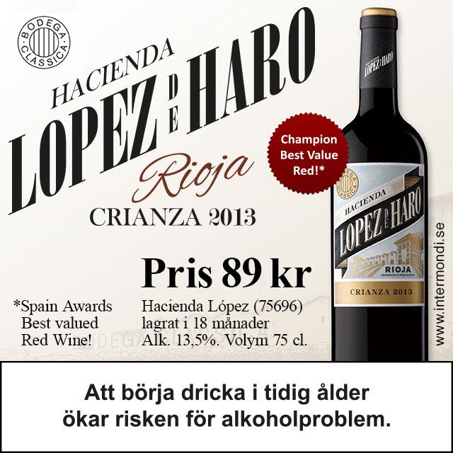 Prisvärd Rioja: 89 kr. Hacienda Lopez Crianza (75696)