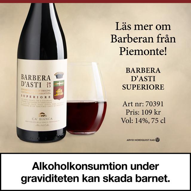 Toppvin från Piemont – Barbera D'asti. Mycket prisvärt: 109 kr