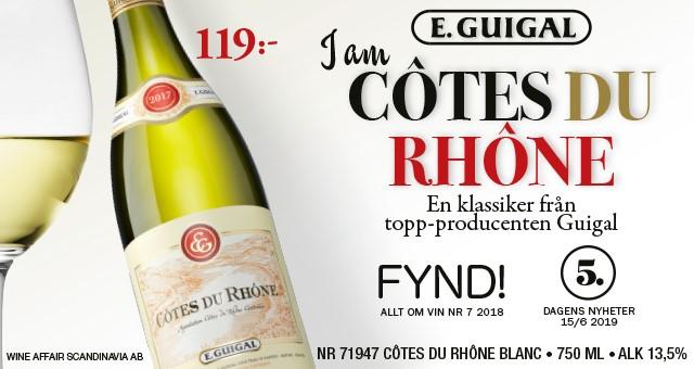 Vitt vin: Côtes du Rhône av hyllad producent, 119 kr