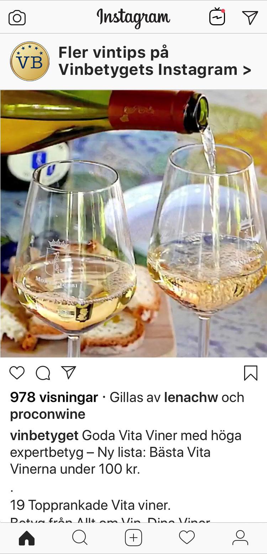 Följ Vinbetygets instagram med nya vintips!