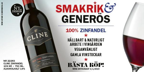 Vintips: Cline Zinfandel- Mjukt, medelfylligt rött vin 109 kr