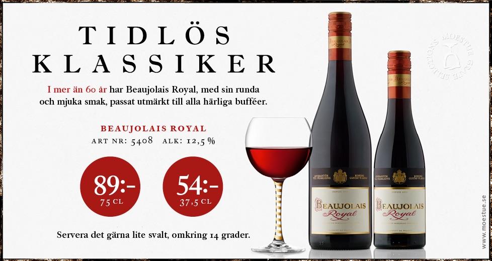 Rött klassiskt vin från Frankrike Beaujolais Royal