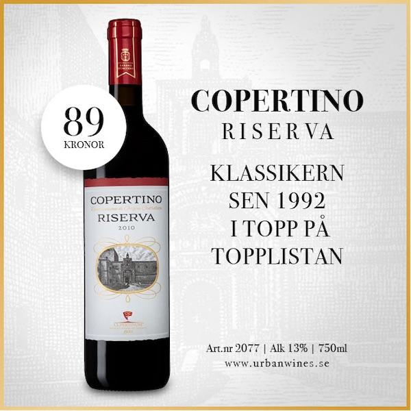 Rött vin Italien- Fynd: Copertino 89 kr