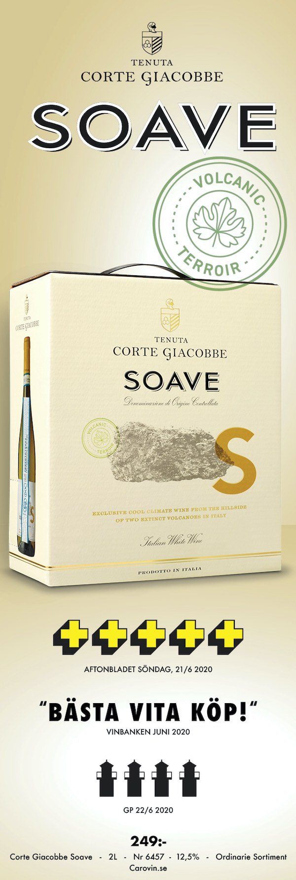Vitt vin bag in box från Italien: Corte Soave 249 kr