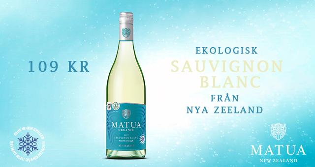 Vitt ekologiskt vin: Matua Sauvignon blanc 109 kr!