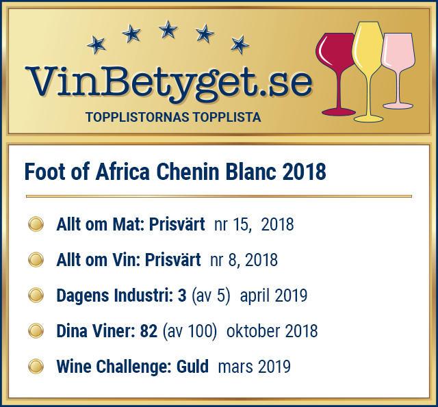 Vin betyg: Foot of Africa Chenin Blanc 2018 (art nr 27003)