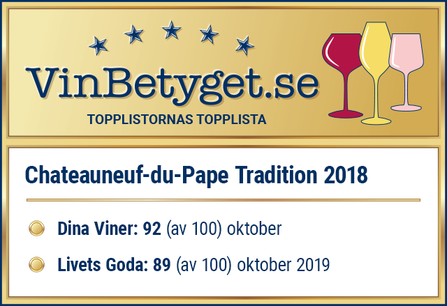 Vin betyg: Chateauneuf-du-Pape Tradition 2018 (art nr 95278)